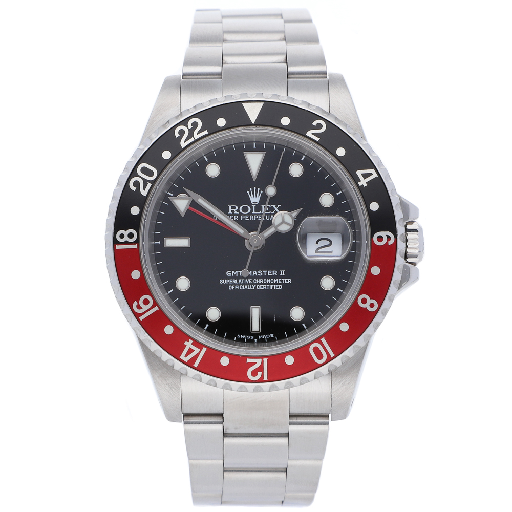 """GMT Master II in steel bezel with red-and-black """"Coke""""16710"""